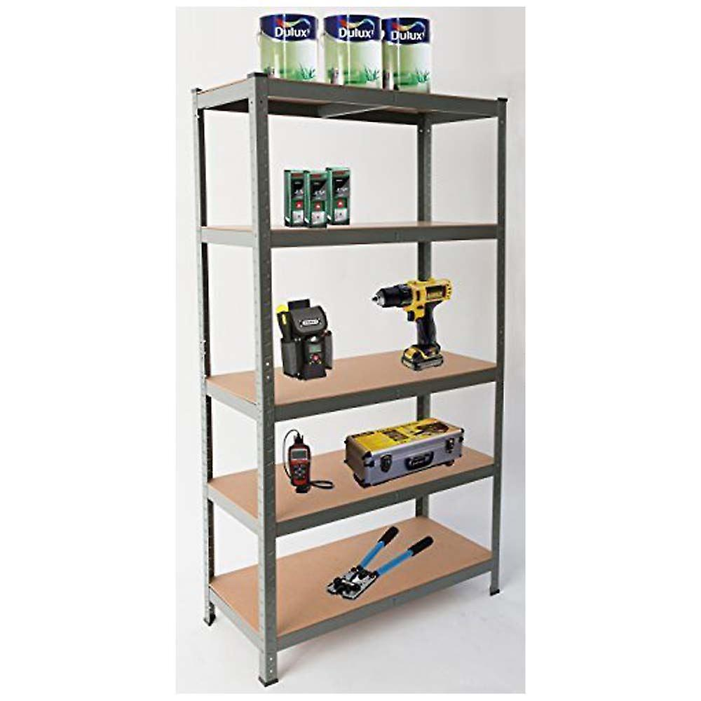 Heavy Duty Steel 5 Tier Racking & Storage Shelves or Workbench - Large 875kg Capacity (Grey)