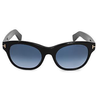Tom Ford Alley Oval solglasögon FT0532 01W 51   Svart acetat ramar   Blå tonad linser