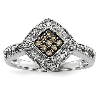 925 Sterling Silver Champagne Diamond and Small Diamond Shape Ring Jewelry Gifts for Women - Ring Size: 6 to 8