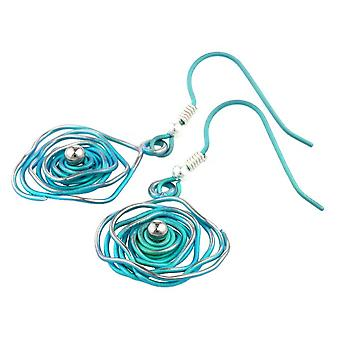 Ti2 Titanium Circular Chaos Earrings - Kingfisher Blue