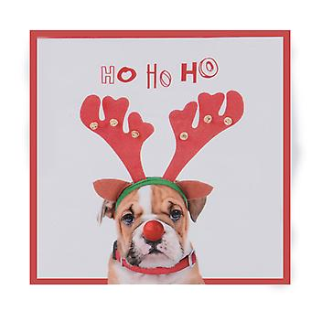 "TRIXES ""HO HO HO"" 20PC Pack Bulldog Napkins with Reindeer Ears"
