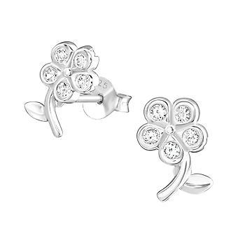 Blomst - 925 Sterling sølv Cubic Zirconia øret knopper - W22001x