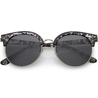 Horn umrandeten halb randlose Runde Sonnenbrille flachen Objektiv 55mm