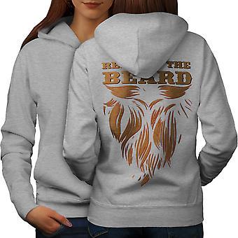 Уважайте борода хиппи женщины серая толстовка назад | Велкода