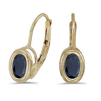 LXR 14k Gelbgold Oval Saphir Zargenfassung Klappbügel Ohrringe 0.78 ct