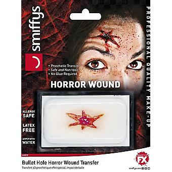 Horror Wound Transfer, Bullet Hole Wound, RED