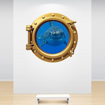 Full Colour Brass Shark Porthole Gold Wall Sticker