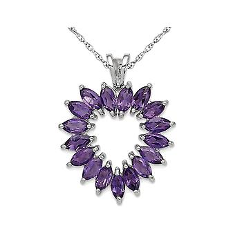 1.45 Carat (ctw) Natural Amethyst Heart Pendant Necklace in Sterling Silver with Chain