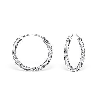 Bali - 925 Sterling Silver Ear Hoops - W558x