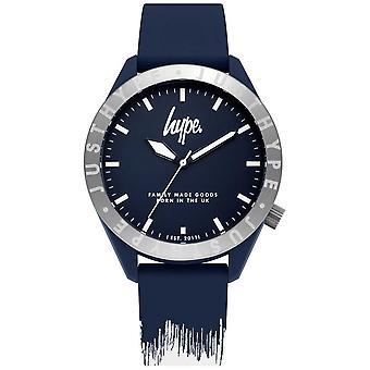Campagna pubblicitaria | Cinturino in Silicone Mens blu/bianco | Quadrante blu | HYG006UW orologio