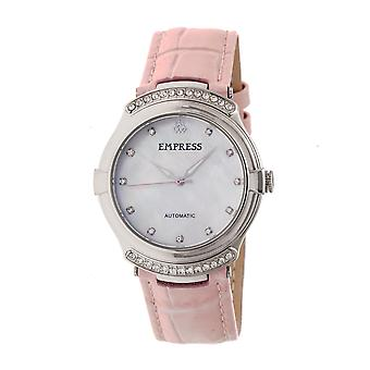 Empress Francesca Automatic MOP Leather-Band Watch - Light Pink