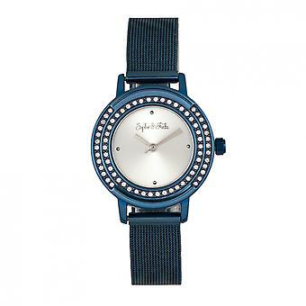 Sophie & Freda Cambridge Bracelet Watch w/Swarovski Crystals - Blue