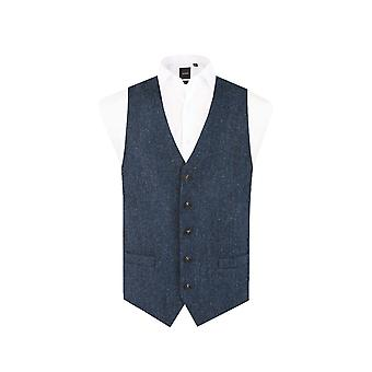 Schotse Harris Tweed mens blauw & zwarte herringbone Tweed gilet regular fit