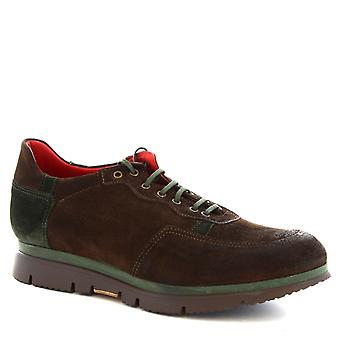 Leonardo Schuhe Man Handgeklöppelte Ups Schuhe aus braunem Wildleder Leder