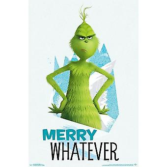 The Grinch Poster Merry Whatever Movie Large Wall Print (22x34)