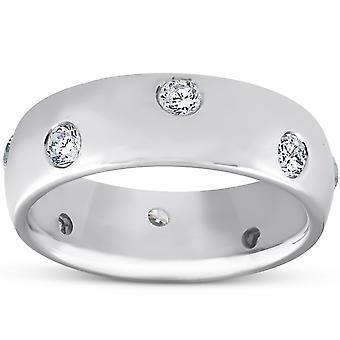 1 / 2ct Lünette Diamant Ewigkeit 14K White Gold neue Ehering