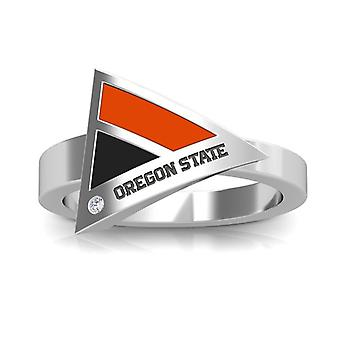 Oregon State University graviert Sterling Silber Diamant geometrische Ring in Orange und schwarz