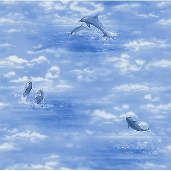 Rasch blauwe dolfijnen Oceaan behang hemel water wolken zee Animal Print textuur