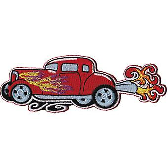 Patch - Automoblies - Red Hot Rod with Flames Iron On Gifts New Licensed p-3736