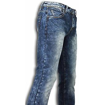 Jeans - Slim Fit Washed Look Jeans - Blue