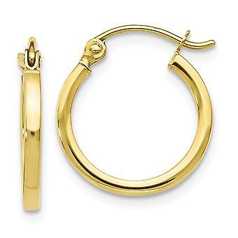 1,5mm 10k Ouro Amarelo Articulado pós Polished Hinged Hoop Brincos Joias Joias para Mulheres - .8 Gramas
