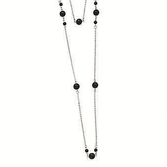 Stainless Steel Polished Fancy Lobster Closure Ip Black plated Beads Draped 36inch Necklace  36 Inch Jewelry Gifts for W