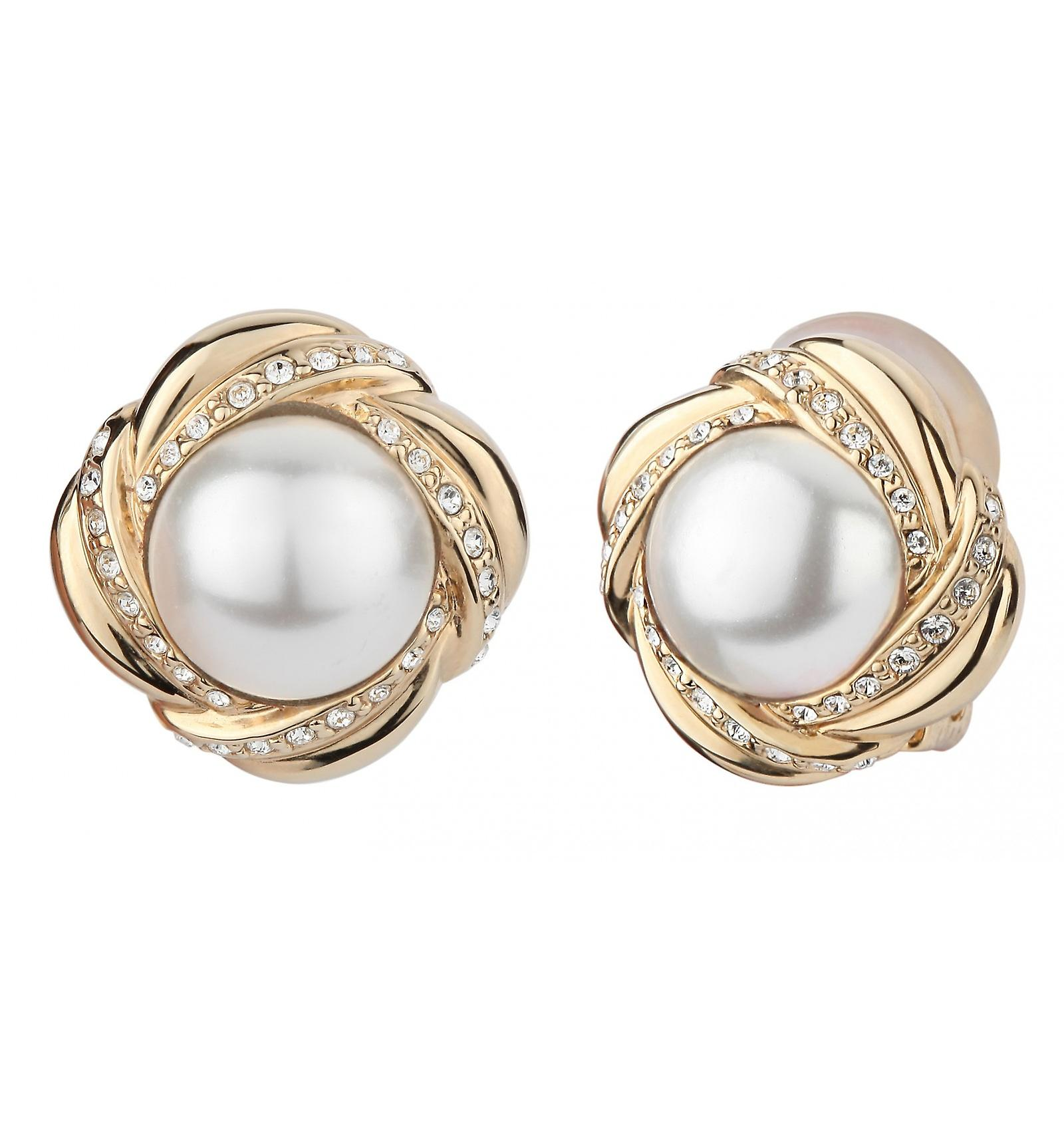 Traveller clip earring - 10mm white pearl - 22ct gold plated - 114181