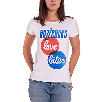 Buzzcocks T Shirt Love Bites band logo new Official Womens Skinny Fit White