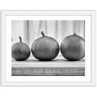 Imagen en marco blanco, limón blanco y negro