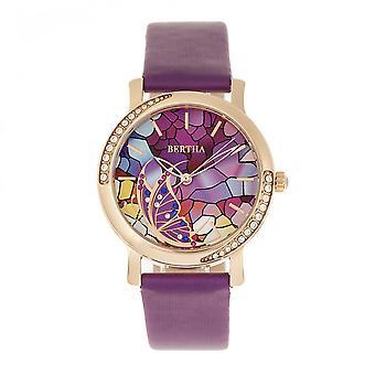 Bertha Vanessa Leather Band Watch - Purple