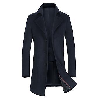 Allthemen Men's Slim Fit Mid-Long Solid LApel Wolle Mantel