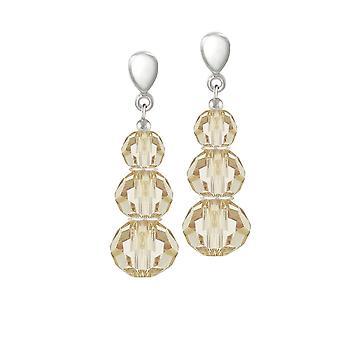 Colección Eterna Trinidad Golden Shadow Crystal Plata Tono Drop Tornillo Back Clip En Pendientes