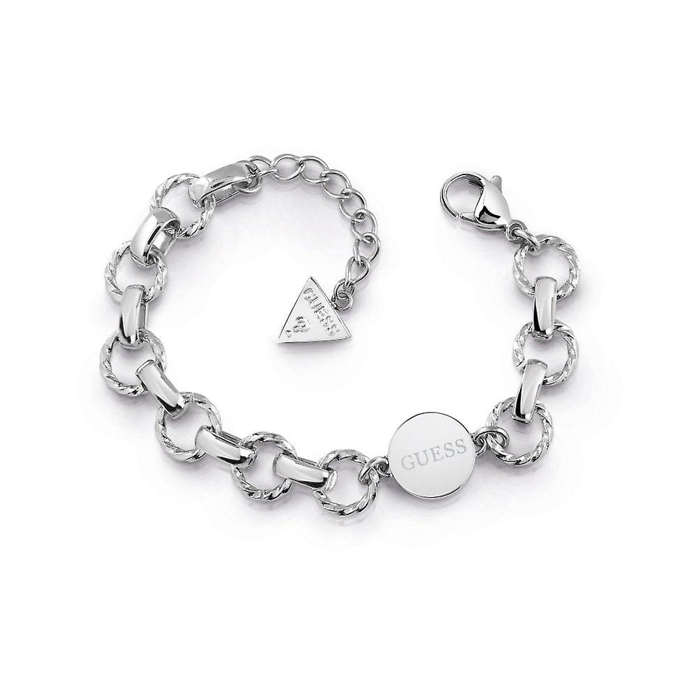 Guess Jewellery Circle Chain Coin Logo Silver Bracelet UBB29033-L