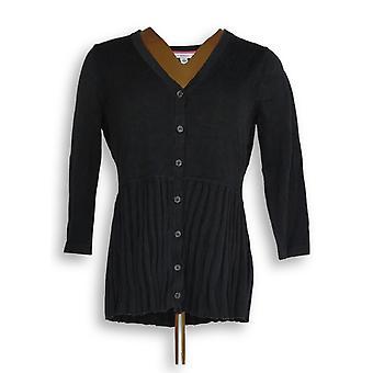 Isaac Mizrahi Live! Vrouwen ' s trui 3/4 mouw geplooid zwart A276859