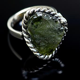 Czech Moldavite Ring Size 8 Adjustable (925 Sterling Silver)  - Handmade Boho Vintage Jewelry RING978145