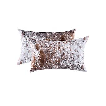 """12"""" x 20"""" x 5"""" Salt And Pepper White And Brown, Cowhide - Pillow 2-Pack"""