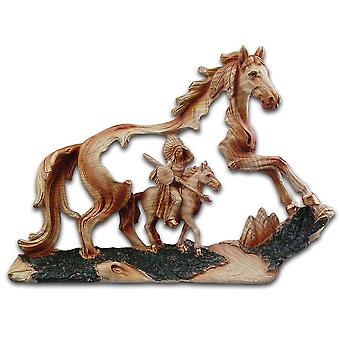 Cherokee River Indian Chief and Horse Resin Plaque