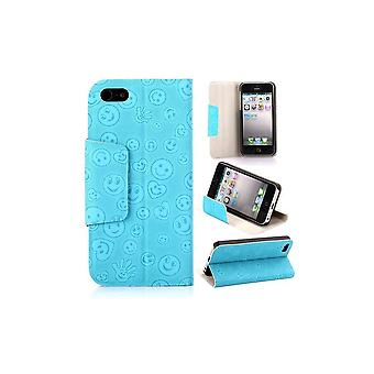 Blue Cover Top Horizontal Loving Pattern Smiley For IPhone 5