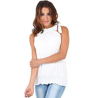 KRISP Women Ladies Pleated Coloured Halter Neck Ruched Sexy Top Blouse