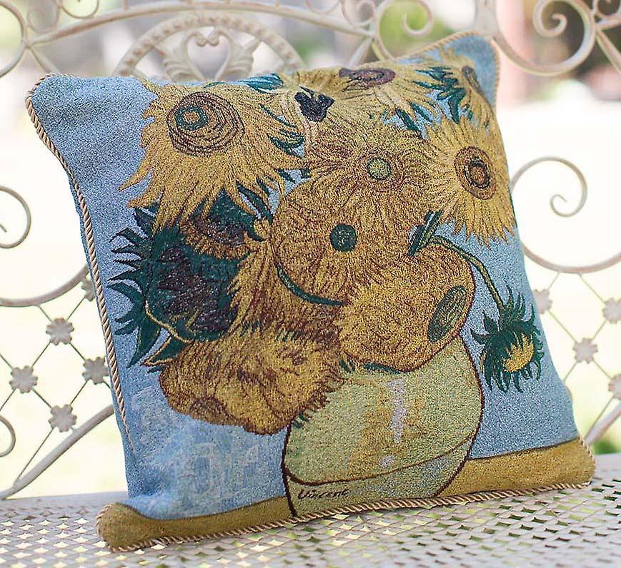 Van gogh sun flower cushion cover   tapestry cushions 18x18 inch   ccov-art-vangogh-3