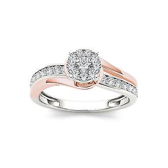 IGI certifié 10 K or Rose 3/8 Ct TDW Diamond Bypass Cluster bague de fiançailles (I-J, I2)