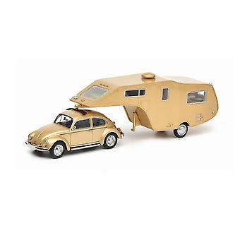 VW Kafer 1200 met Caravan Trailer Resin Modelauto
