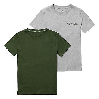 Calvin Klein Boys 2 Pack Modern Cotton Short Sleeve T-shirt - Grey/Green