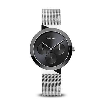 Uhr Bering 35036-002 - Helles Stahlzifferblatt schwarz Lünette cr amic noir milanese Stahlarmband