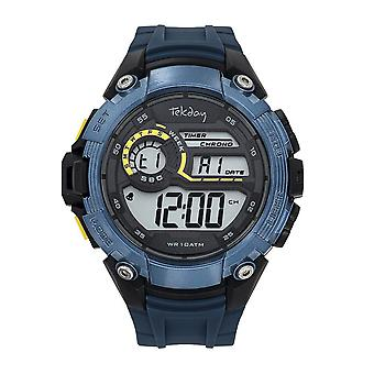 Tekday 655054 Watch - Digital Multifunction Silicone Black and Blue Yellow Hue Yellow Men