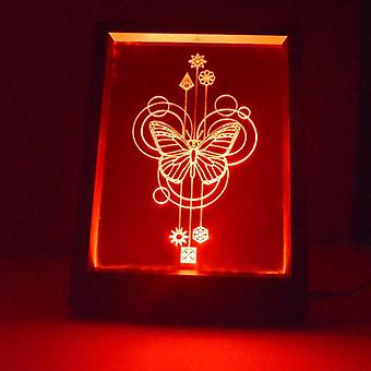 Decorative Circles Butterfly Colour Changing RC LED Mirror Light Frame