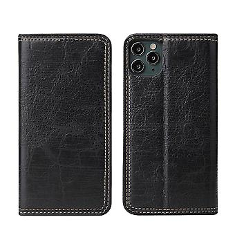 For iPhone 11 Case PU Leather Flip Wallet Protective Cover Kickstand Black