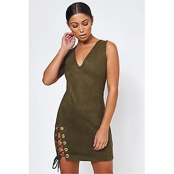 Suede Lace Up Mini Dress