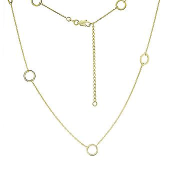 14k Yellow Gold 7 Pc Open Circle Station Adjustable Necklace 18 Inch Jewelry Gifts for Women