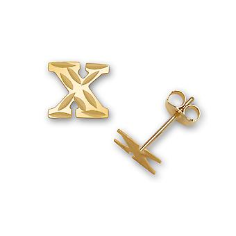 14k Yellow Gold Letter Name Personalized Monogram Initial X Stamping for boys or girls Earrings Measures 6x7mm